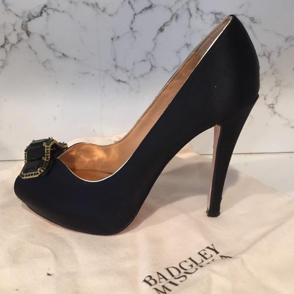 a8bae91d90 Badgley Mischka Shoes   Black Satin Platform Peeptoe Heels   Poshmark